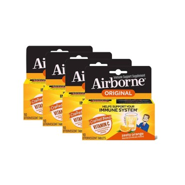 Airborne Vitamin C 1000mg - Zesty Orange Effervescent Tablets 4 boxes# 10 tablets/ box