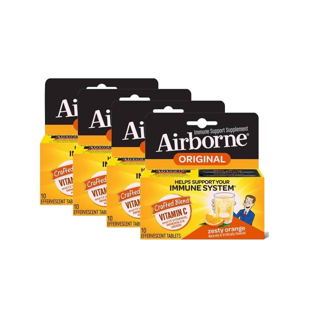 Product Detail - Airborne Vitamin C 1000mg - Zesty Orange Effervescent Tablets 4 boxes# 10 tablets/ box - image 0