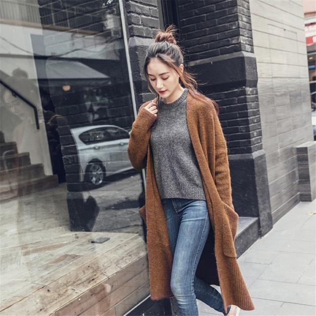 商品详情 - 独角定制 深棕色长款羊毛开衫毛衣外套 M - image  0