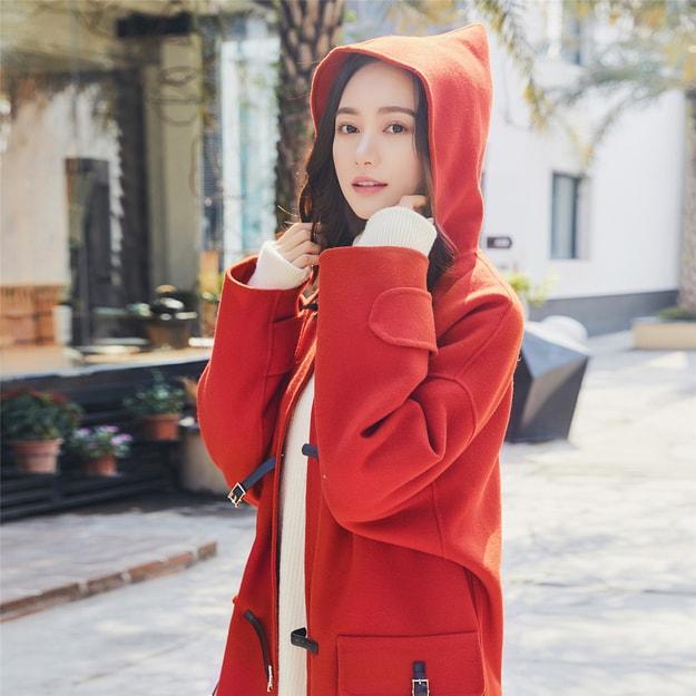 商品详情 - 独角定制 红色连帽羊毛双面呢大衣 XS - image  0