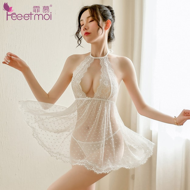 Product Detail - FEE ET MOI Slit transparent mesh temptation pajama set white - image 0