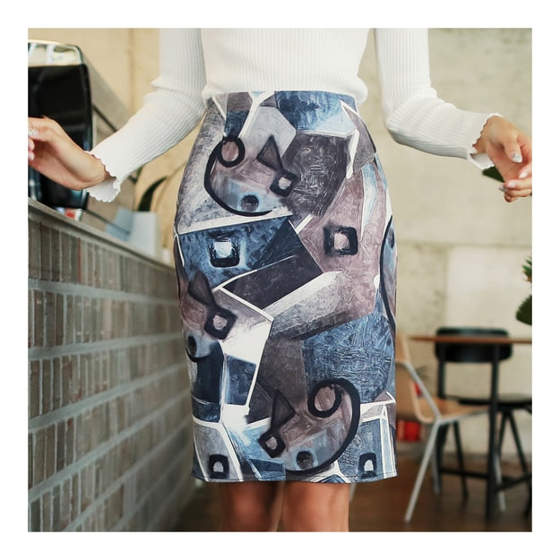 "Product Detail - KOREA MAGZERO Modern Art Pattern H-Line Skirt Navy S(25~26"") [Free Shipping] - image 0"