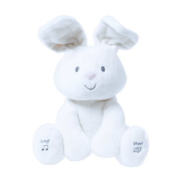 """Canada GUND Baby Flora 12"""" The Bunny Animated Plush Stuffed Animal Toy with Music & peek-a-boo Function #Cream"""