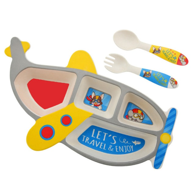 Product Detail - TIMESWOOD Bamboo Fiber Children\'s Tableware Cartoon Aircraft Grid Plate With Fork Spoon Three-piece Set Gray 1Set / 3pcs - image 0
