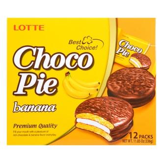 韩国LOTTE乐天 巧克力奶油夹心派 香蕉味 12枚入 3336g