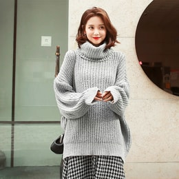 WINGS Oversized Turtleneck Sweater #Grey One Size(Free)