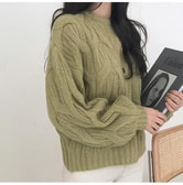 CHERRYKOKO New Korean Women Autumn Elegant Ruli all-match Loose knit yellowgreen free size