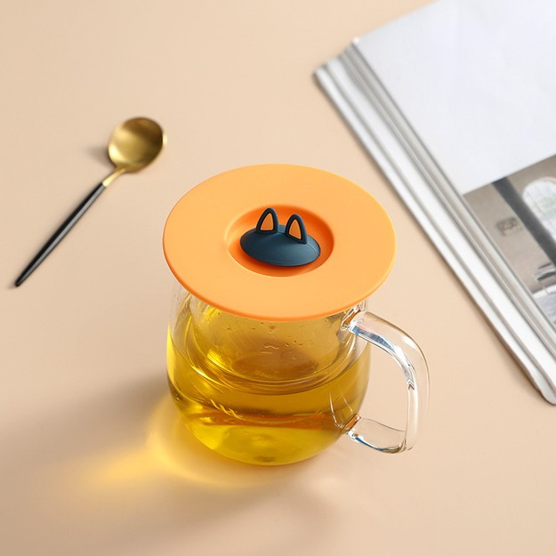 商品详情 - 中国直邮 创意猫耳朵硅胶杯盖防漏防尘马克杯陶瓷茶杯水杯小猫杯盖  活力橙 - image  0