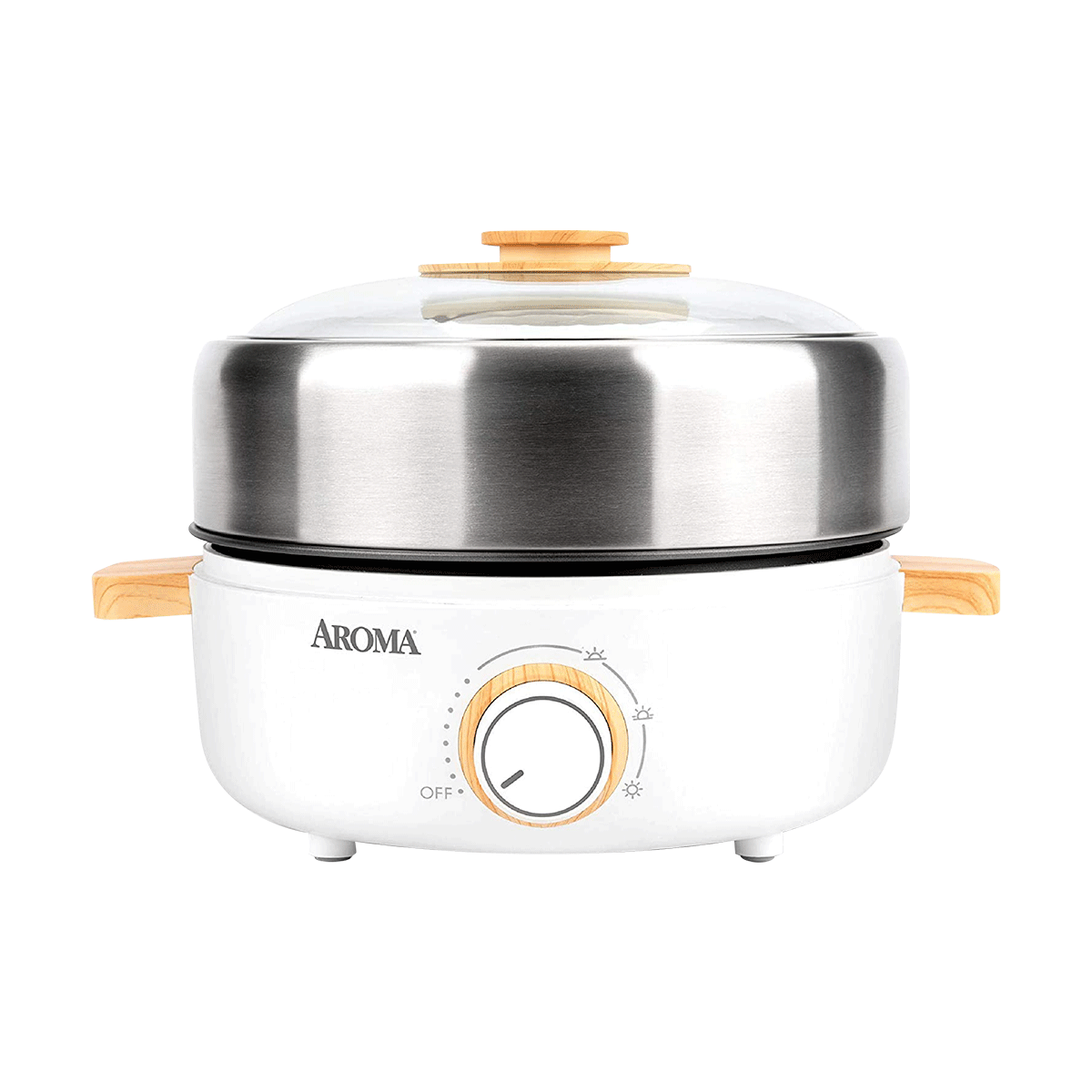 Yamibuy.com:Customer reviews:[NEW] Aroma Housewares AMC-130 Whatever Pot Indoor Grill Cooking Hot Pot with Glass Lid Bamboo Handles 2.5L