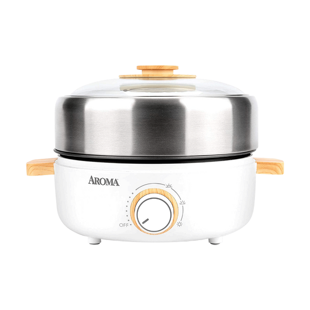 Product Detail - [NEW] Aroma Housewares AMC-130 Whatever Pot Indoor Grill Cooking Hot Pot with Glass Lid Bamboo Handles 2.5L - image 0