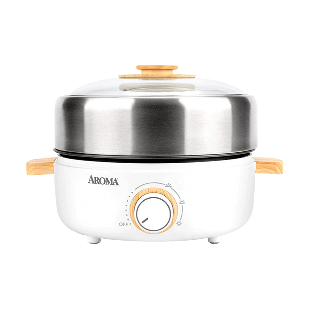 Product Detail - Whatever Pot Indoor Grill Cooking Hot Pot with Glass Lid Bamboo Handles, Stainless Steel, AMC-130, 2.5L - image  0