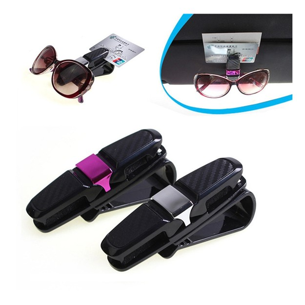 Product Detail - LORDUPHOLD Portable Fastener Cip Eyeglasses Clip Ticket Card Clamp ABS Glass Car Sun Visor Sunglasses Holder Silver 1 pc - image 0