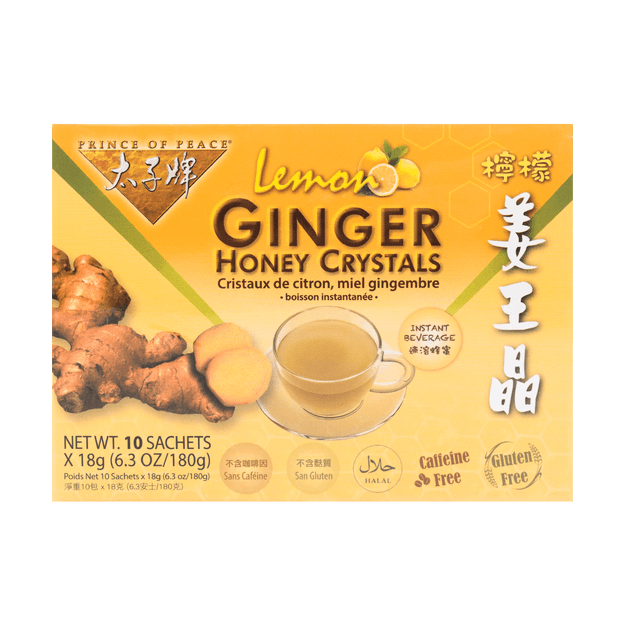 PRINCE OF PEACE Instant Lemon Ginger Honey Crystals 10sachets 180g