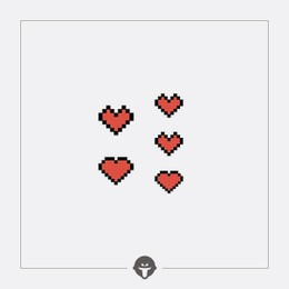 @BECOME Tattoo Stickers Pixel red heart Three Piece