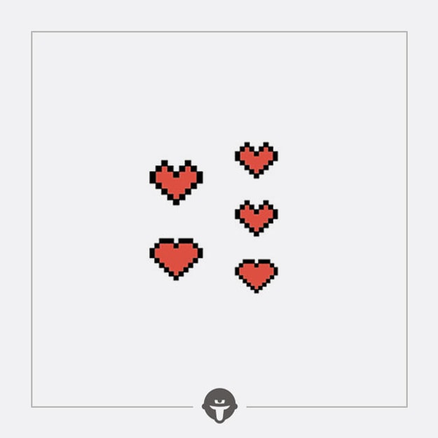 Product Detail - @BECOME Tattoo Stickers Pixel red heart Three Piece - image 0