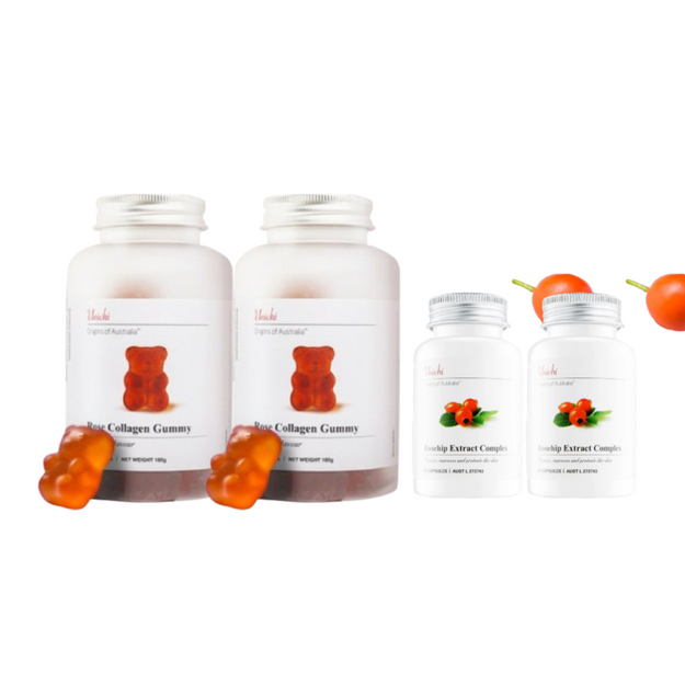 Product Detail - UNICHI Rose Collagen Gummy 60 Gummies 2 Pack+ Rosehip Extract Complex 60 capsules 2pack - image 0