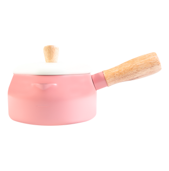 Multi Function Japanese Style Double Layer Milk Pot Saucepan with Lid Induction Ready 14cm Rose Pink