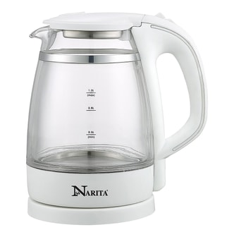 NARITA Double Wall Electric Glass Water Kettle 1.0L GK1201D (1 Year Mfg Warranty)