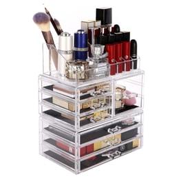 【化妆收纳】ROSELIFE [TGC]三层亚克力化妆品收纳盒首饰储物盒7个抽屉和12 + 4槽口红眉笔香水架可拆卸透明