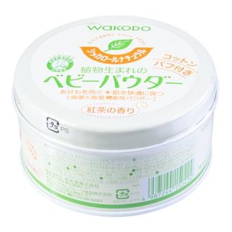日本和光堂WAKODO 无尘绿茶茶香保湿宝宝爽身粉痱子粉 120g