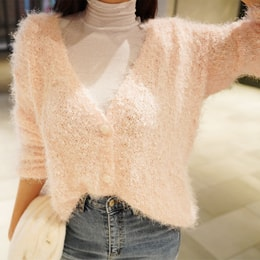 SSUMPARTY Fuzzy Knit Cardigan #Pink One Size(S-M)