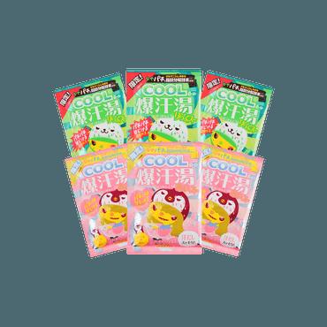 【6包新品混合装】日本BISON COOL冷感凉感 脂肪分解酵素热感美肌爆汗汤 柑橘薄荷香*3+蜜桃香*3