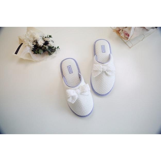商品详情 - Premium Down海军风蓝白条纹透气镂空棉家居拖鞋 36-37码 - image  0