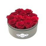 BLOSSOMING LOVE 经典透视开窗小圆盒 红色永生花