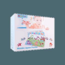 Arkmiido 儿童木制玩具木制拼图手抓板套装 6块拼图板 2岁以上 YL-333