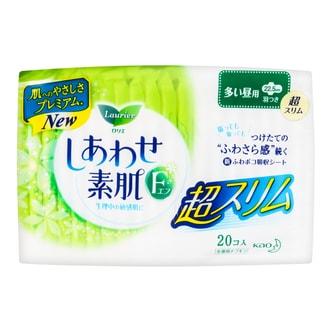 日本KAO花王 LAURIER乐而雅 F系列 丝薄棉柔卫生巾 日用型 COSME大赏第一位 22.5cm 护翼型 20片入