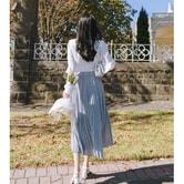 【韩国直邮】ATTRANGS 韩国时尚淑女长裙  天蓝色 均码
