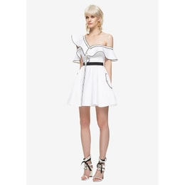 SELF-PORTRAIT Silk Cotton Frill Dress White UK6