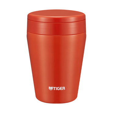 TIGER Stainless Steel Thermal Vacuum Insulated Food Jar Soup Cup MCL-B038 # Chili Red 380ml