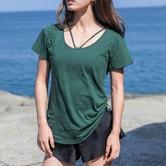 暴走的萝莉 纯棉纯色美脖运动短袖 健身运动宽松吸汗速干T桖女春夏/宝石绿#/S