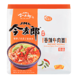 JINGMAILANG Spicy and Hot Beef Instant Noodle 5packs 585g
