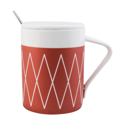 KINGBIRD Indian Stripes Ceramic Coffee Tea Mug Cup with Lid and Spoon #Red
