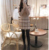 CHERRYKOKO New Korean Women Autumn Elegant Plaid Skirt Wine M