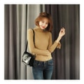 KOREA MAGZERO Turtleneck Bell Sleeve Ribbed Knit Top Beige One Size(S-M) [Free Shipping]