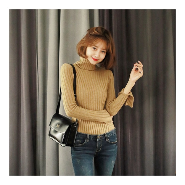 Product Detail - KOREA MAGZERO Turtleneck Bell Sleeve Ribbed Knit Top Beige One Size(S-M) [Free Shipping] - image 0