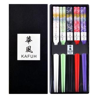 华风 日式和风天然竹木筷子简装 浪漫樱花 5双套装
