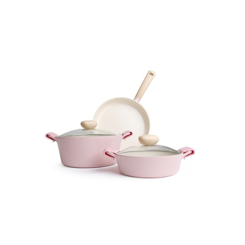 RETRO Pink 5pc Set  3.5Qt Low Stockpot 5Qt Stockpot 11