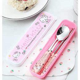 Reusable Travel Stainless Steel Utensil Set Kitty Cat with Carry Box 3pcs Fork Spoon Chopsticks #Pink
