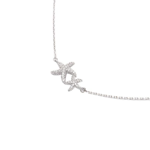 商品详情 - 纽约 IHUSH 俏物悄语 银色海星满钻项链 1件入 - image  0