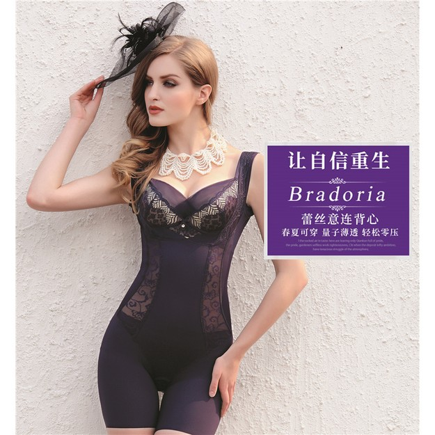 048828f730e90 BRADORIA Shapewear Sleeveless Lacy Intelligent Curve™ Full Body Shaper  Purple S  21025 ...