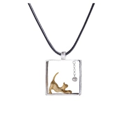 ARIEL gold and silver kitten necklace (one)