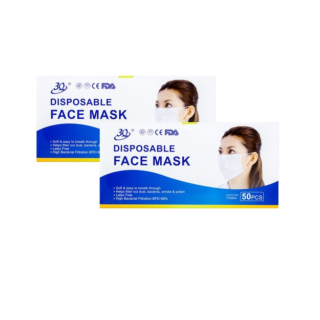 Product Detail - [Combo]【FDA】3Q 3-ply 3 layers Nonwoven With Ear Loops Face Masks 50pcs x 2 boxes [Color sent randomly] - image 0