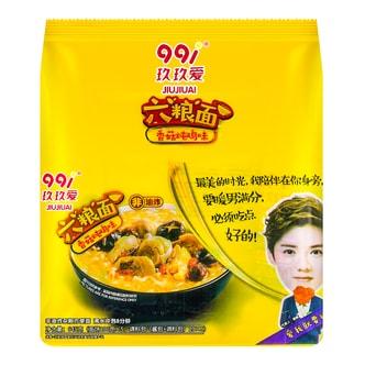玖玖爱 六粮面非油炸方便面 香菇炖鸡味 5包入 645g 鹿晗代言