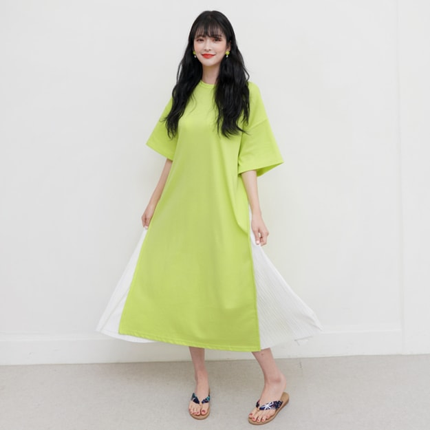 Product Detail - SSUMPARTY Patchwork Pleated Dress #Yellowish Green One Size(Free) - image 0