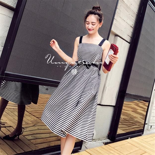 商品详情 - 独角定制 黑白条纹蝴蝶结系带中长款吊带连衣裙女 XS - image  0