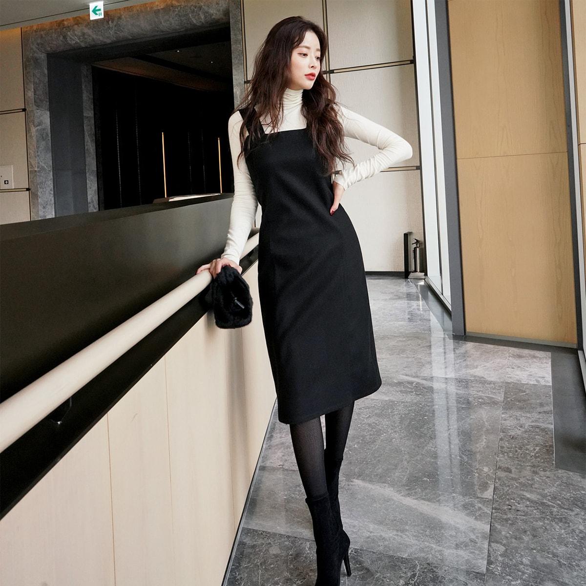 【韩国直邮】 SSUMPARTY 韩国大方领中长紧身胸衣式连衣裙 #黑色 S(36) 怎么样 - 亚米网